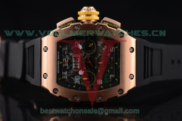 Richard Mille RM 011 Felipe Massa Flyback 7750 Auto Skeleton Dial with Rose Gold Case RM 011