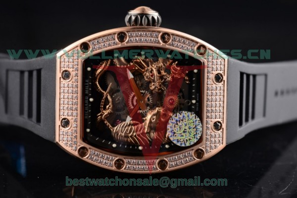 Richard Mille RM 51-01 Tourbillon Tiger and Dragon Asia Manual Winding Skeleton Dial with Rose Gold Case