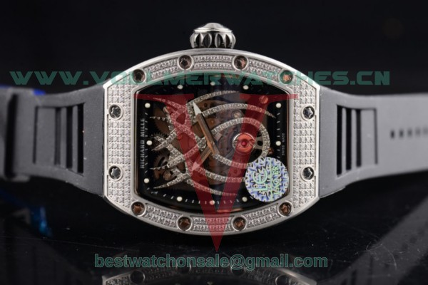 Richard Mille Natalie Portman RM-19-01 Black Strap Asia Manual Winding Skeleton Dial with Steel Case