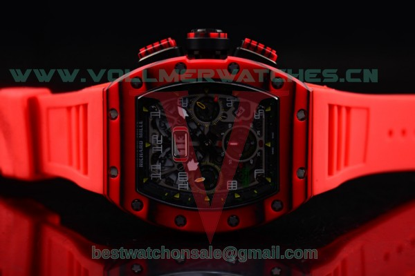 Richard Mille RM 11-03 7750 Auto Red Rubber Strap Skeleton Dial with PVD Case RM 11-03