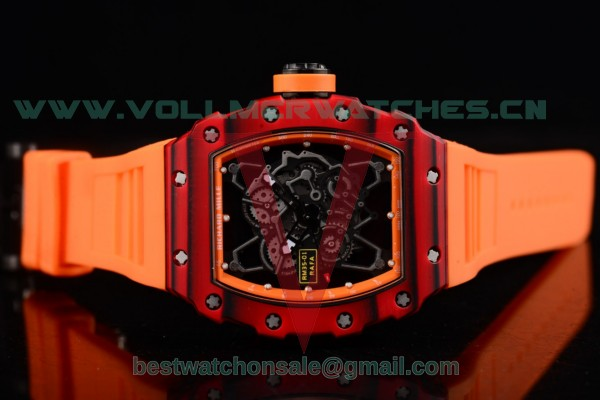Richard Mille RM 35-01 RAFA Miyota 9015 Auto Orange Rubber Strap Skeleton Dial with PVD Case RM 35-01