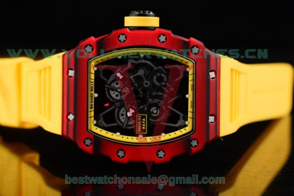 Richard Mille RM 35-01 RAFA Miyota 9015 Auto Yellow Rubber Strap Skeleton Dial with PVD Case RM 35-01