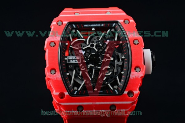 1:1 Richard Mille RM 35-02 RAFAEL NADA Miyota 9015 Skeleton Dial with Red PVD Case Red Rubber Strap RM 35-02