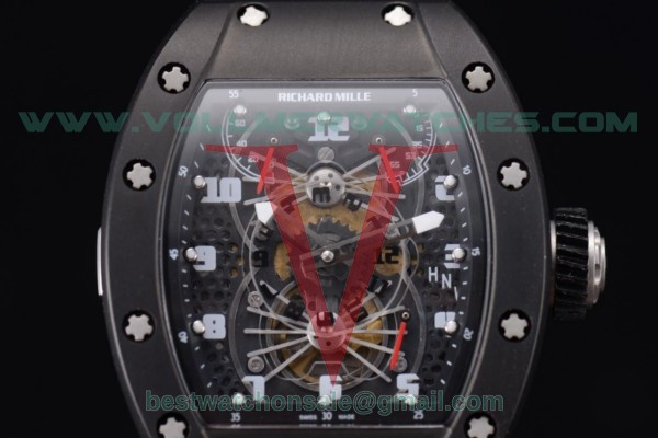 Richard Mille RM 022 Carbone Tourbillon Aerodyne Double Time Zone Miyota 6T51 Manual Winding Black Dial With PVD Case RM 022