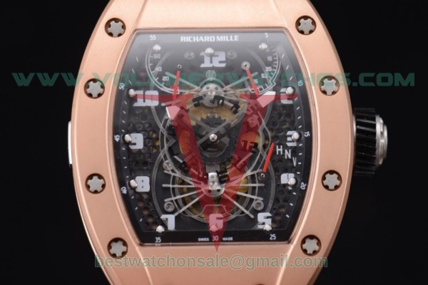 Richard Mille RM 022 Carbone Tourbillon Aerodyne Double Time Zone Miyota 6T51 Manual Winding Black Dial With Rose Gold Case RM 022