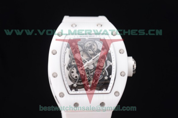 Richard Mille RM 055 Miyota 9015 Auto Skeleton Dial White Ceramic Bezel With Steel Case