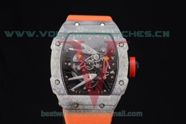 Richard Mille RM027-2 Miyota 9015 Auto Skeleton Dial With Carbon Fiber Case Orange Nylon Strap