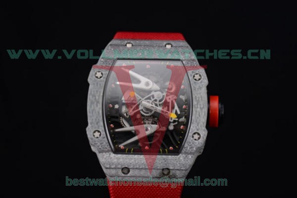 Richard Mille RM027-2 Miyota 9015 Auto Skeleton Dial With Carbon Fiber Case Red Nylon Strap