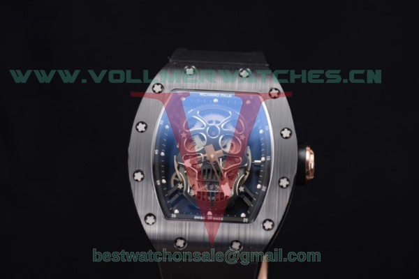 Richard Mille RM052 Miyota 9015 Auto Skull Dial With PVD Case Black Rubber Strap