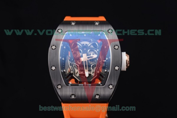 Richard Mille RM052 Miyota 9015 Auto Skull Dial With PVD Case Orange Rubber Strap