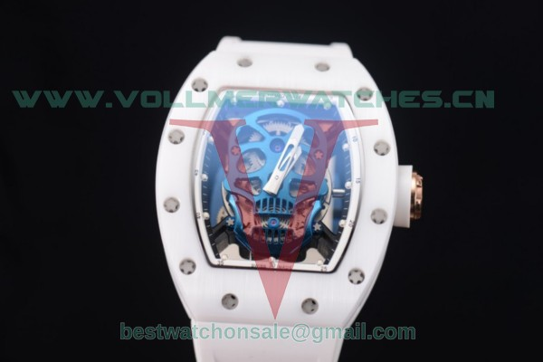 Richard Mille RM052 Miyota 9015 Auto Skull Dial With Ceramic Case White Rubber Strap
