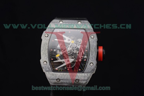 Richard Mille RM027-2 Miyota 9015 Auto Skeleton Dial With Carbon Fiber Case Black Nylon Strap