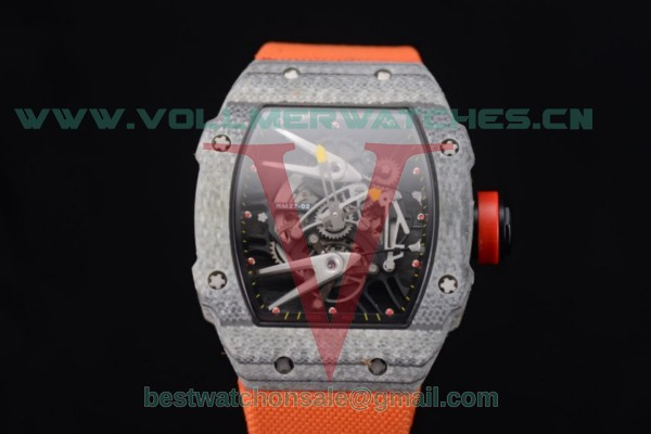Richard Mille RM027-2 Miyota 9015 Auto Skeleton Dial Carbon Fiber Case Orange Nylon Strap