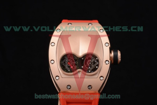 Richard Mille RM053 Asia Auto Skeleton Dial With Rose Gold Case Red Rubber Strap