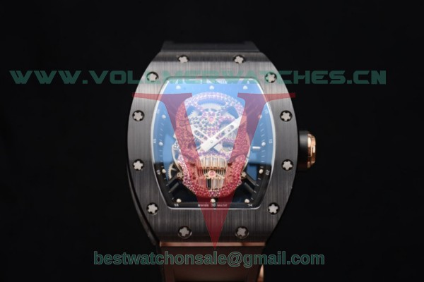 Richard Mille RM052 Miyota 9015 Auto PVD/Rose Gold Case With Skull Dial