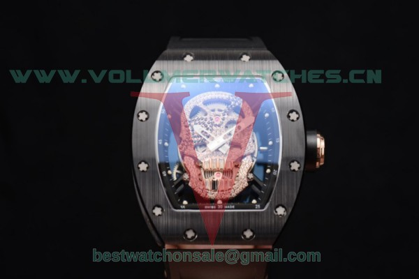 Richard Mille RM052 Miyota 9015 Auto PVD/Rose Gold Case Skull Dial