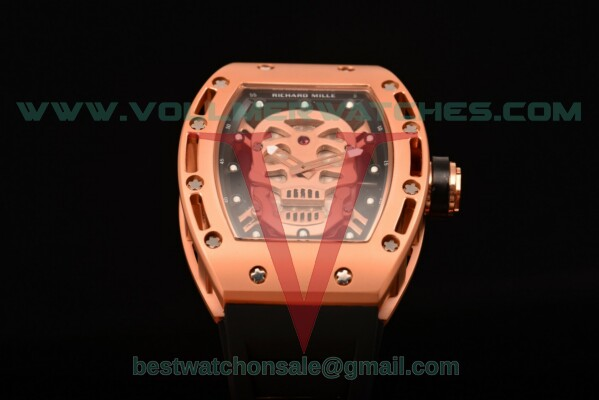 Richard Mille RM 52-01 Miyota Quartz Skull/Skeleton Dial with Rose Gold Case