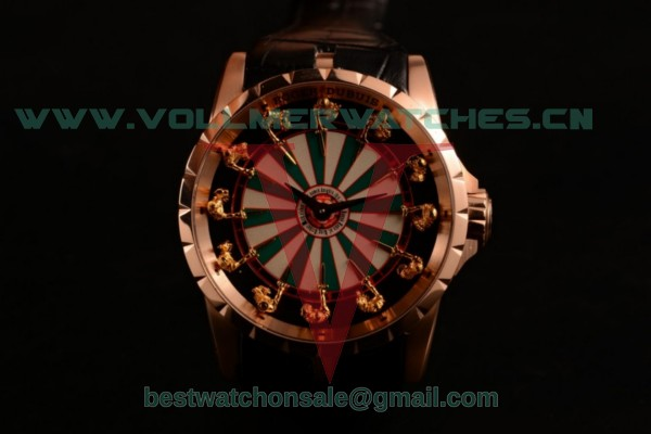 Roger Dubuis Excalibur Knights of the Round Table II Citizen 6T51 Manual Winding White/Green Dial with Rose Gold Case RDDBEX0495RGC (AAAF)
