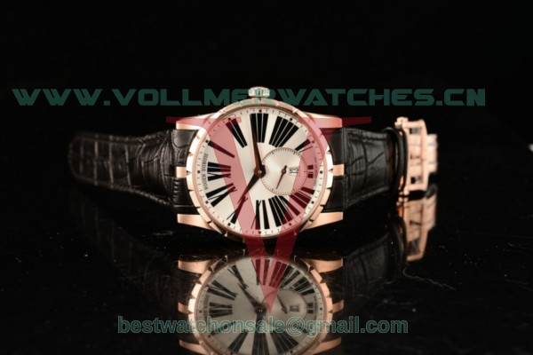 1:1 Roger Dubuis Excalibur 36 Miyota 9015 Auto White Dial With Rose Gold Case rddex0587