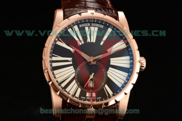 Roger Dubuis Excalibur 36 Miyota 9015 Auto Black Dial With Rose Gold Case rddex0588