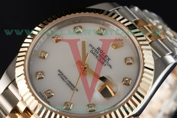 Rolex Datejust 2836 Auto White Dial with K Gold Case 116333 jwd (BP)