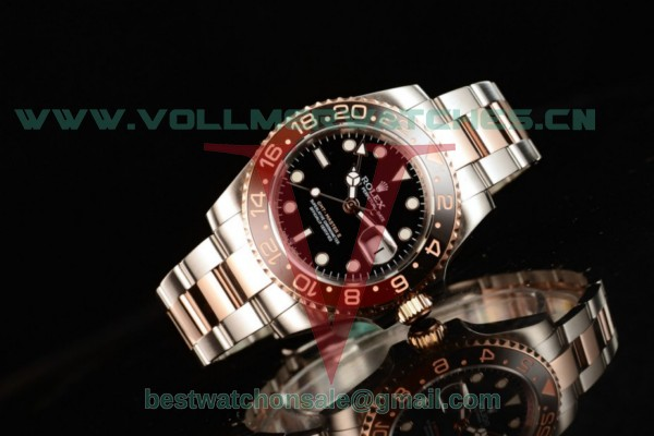 Rolex GMT-Master II 2836 Auto Black Dial With Steel/Rose Gold Case 126711CHNR