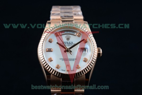 Rolex Day-Date 2836 Auto White Dial with 18K Rose Gold Case 218235 whidp (BP)
