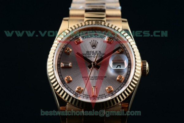 Rolex Day-Date 2836 Auto Gray Dial with 18K Rose Gold Case 218235 gredp (BP)
