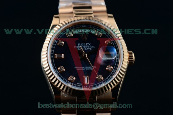 Rolex Day-Date 2836 Auto Black Dial with 18K Rose Gold Case 218235 bludp (BP)