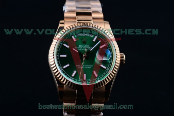 Rolex Day-Date 2836 Auto Green Dial with Rose Gold Case 218235 greesp (BP)