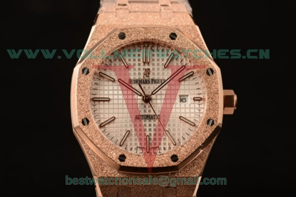 Audemars Piguet Royal Oak 3120 Auto White Dial with Rose Gold Case 15400OR.OO.1220OR.02WD (EF)