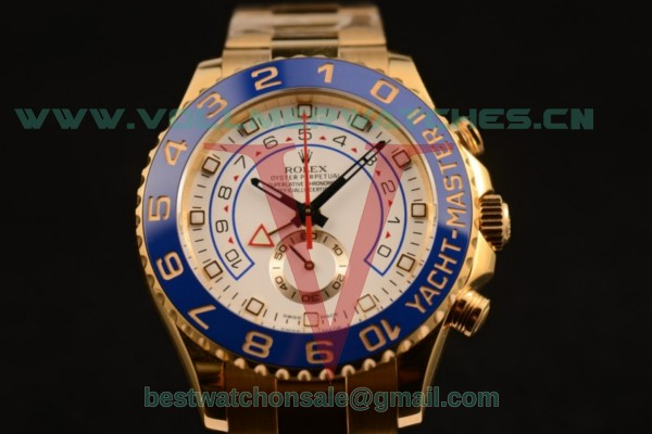 1:1 Rolex Yacht-Master II Chrono 7750 Auto White Dial with Yellow Gold Case 116689 (JF)