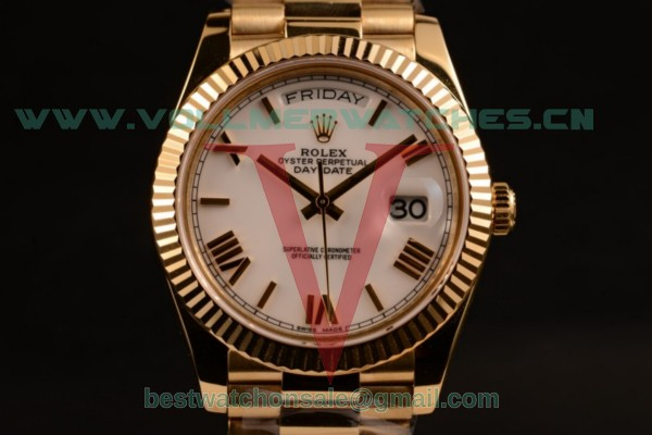 Rolex Day-Date Asia/2836 Auto White Dial with Yellow Gold Case 118238 pwr (BP)