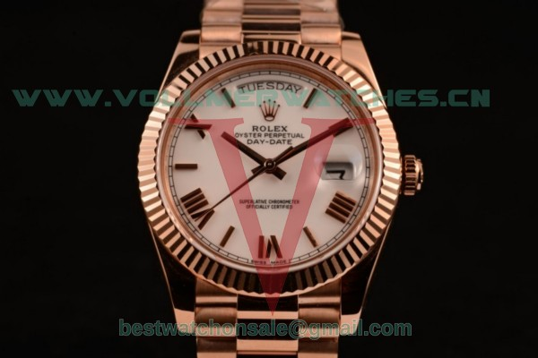 Rolex Day-Date Asia/2836 Auto White Dial with Rose Gold Case 218235 pwr (BP)