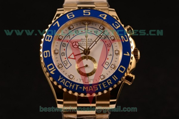 Rolex Yacht-Master II Chrono 7750 Auto White Dial with Yellow Gold Case 116688 (BP)