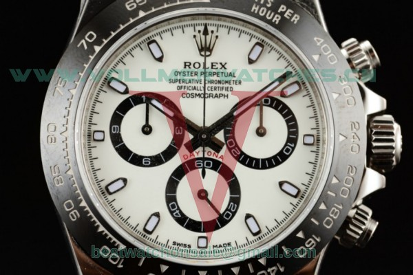 1:1 Rolex Cosmograph Daytona 4130 Auto White Dial with Steel Case 116500 (AR)
