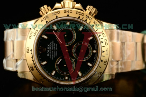 1:1 Rolex Daytona Clone Rolex 4130 Auto Green Dial With Yellow Gold Case 116508 (JH)