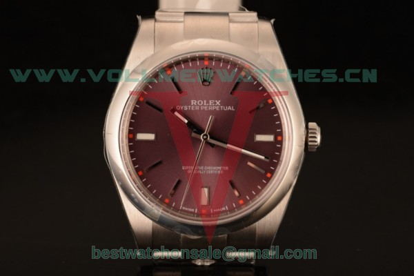 1:1 Rolex Oyster Perpetual Air King Clone Rolex 3135 Auto Red Grape Dial With Rose Gold Case 114300-0002 (AR)