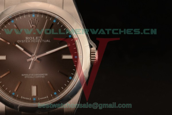1:1 Rolex Oyster Perpetual Air King Clone Rolex 3135 Auto Dark Rhodium Dial With Rose Gold Case 114300-0001 (AR)