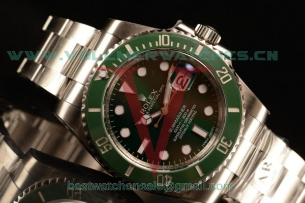Rolex Submariner Clone Rolex 3135 Auto Green Dial With Steel Case m116610lv-0002(AR)