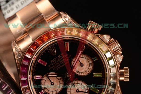 Rolex Cosmograph Daytona Rainbow Diamond Chrono Swiss Valjoux 7750 Auto Black Dial With Rose Gold Case 116959 RBOW