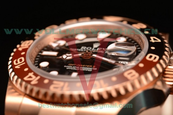 1:1 Rolex GMT-Master II Swiss ETA 2836 Auto Black Dial With Rose Gold Case 126715CHNR(BP)