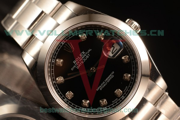 Rolex Datejust Oyster Perpetual Swiss ETA 2836 Auto Black Dial With Steel Case 116334 odgred (BP)