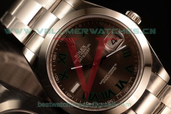 Rolex Datejust Oyster Perpetual Swiss ETA 2836 Auto Brown Dial With Steel Case 116334 ogregr (BP)