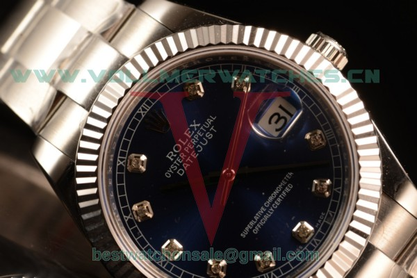 Rolex Datejust Oyster Perpetual Swiss ETA 2836 Auto Blue Dial With Steel Case 116334 obluds (BP)