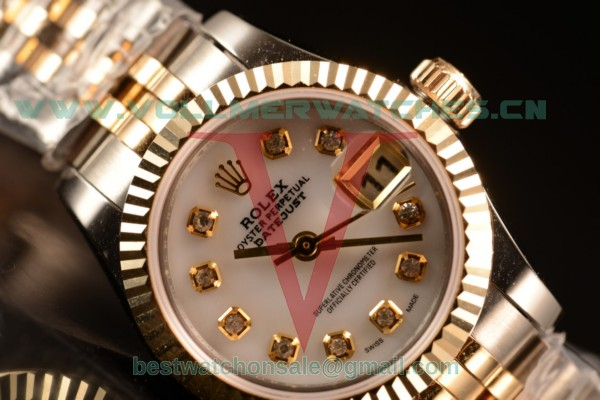 Rolex Oyster Perpetual Lady Datejust Swiss ETA 2671 Auto White Dial With 904 Steel/14K Yellow Gold Case 179173 pwhid (BP)