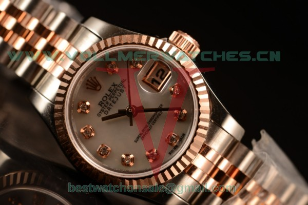 Rolex Oyster Perpetual Lady Datejust Swiss ETA 2671 Auto White Dial With 904 Steel/14K Rose Gold Case 179171 pgred (BP)