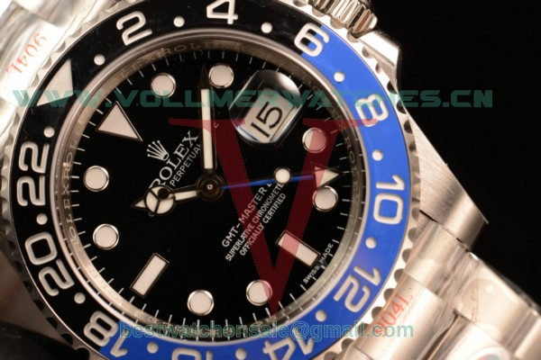 1:1 Rolex GMT-Master II Clone Rolex 3186 Auto Black Dial With 904 Steel Case 116710BLNR (NOOB)