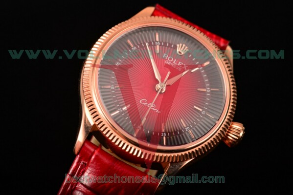 Rolex Cellini Time 2813 Auto Black/Red Dial with Rose Gold Case 50506 red