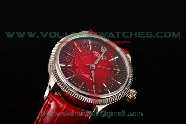 Rolex Cellini Time 2813 Auto Black/Red Dial with Steel Case 50507 red